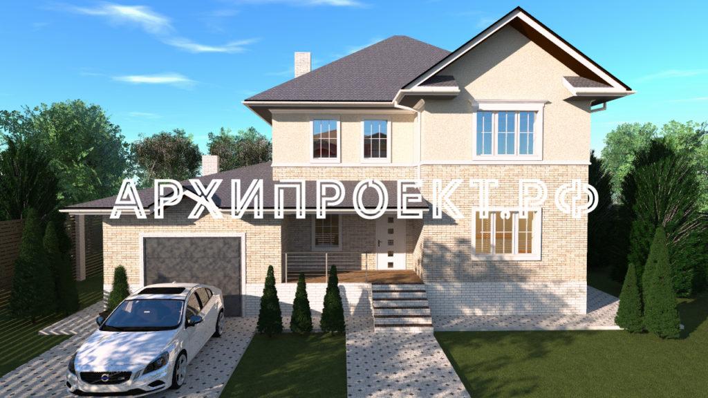 Дом с фасадом из кирпича и штукатурки