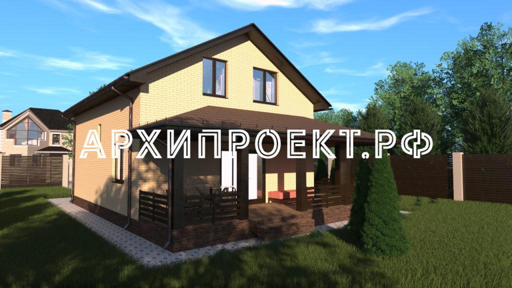 Проект небольшого дома с мансардой и террасой фото