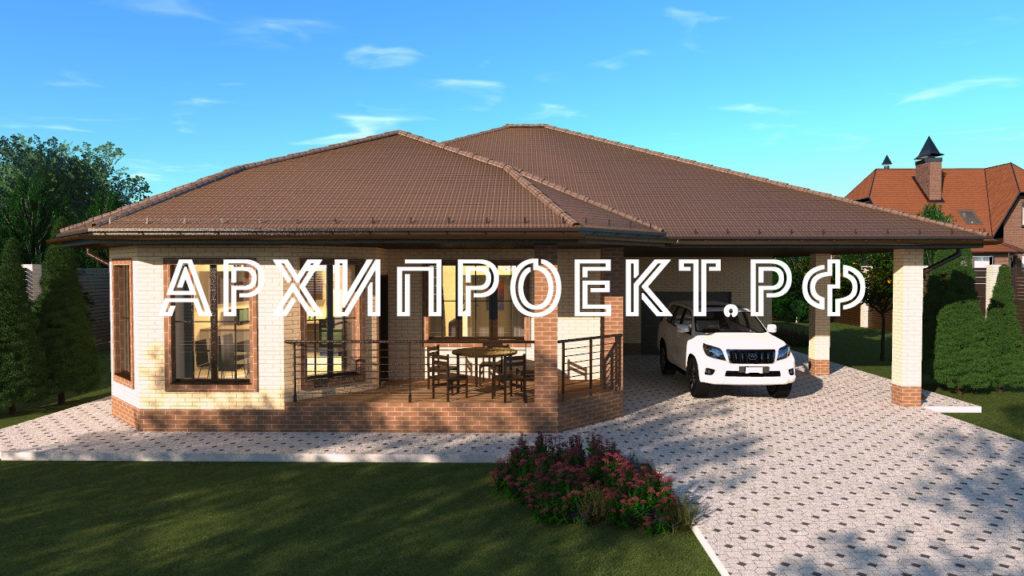 Проект одноэтажного дома с гаражом и баней
