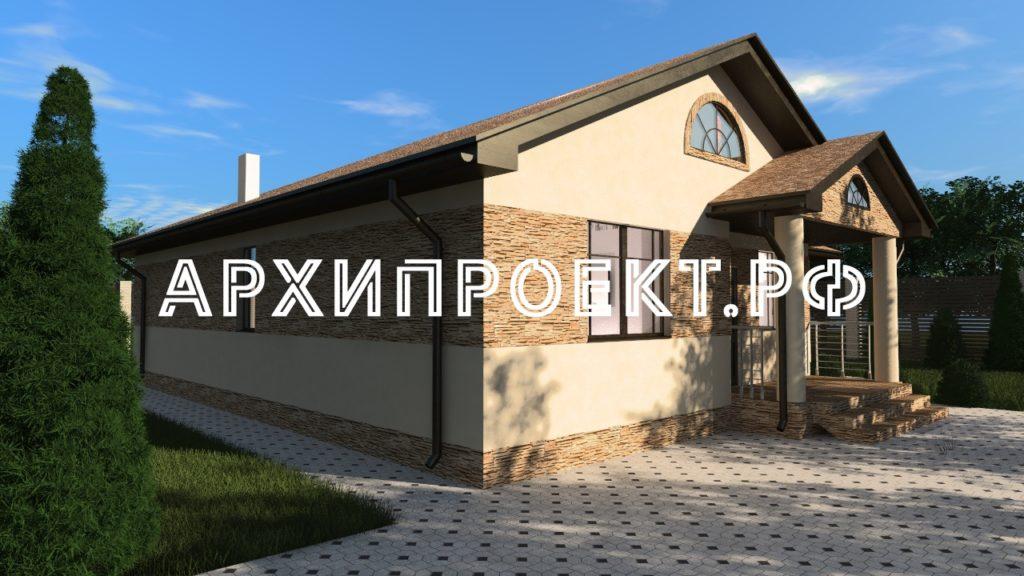 Проект одноэтажного дома с комбинированным фасадом