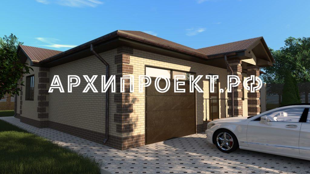 Проект одноэтажного дома из кирпича с гаражом