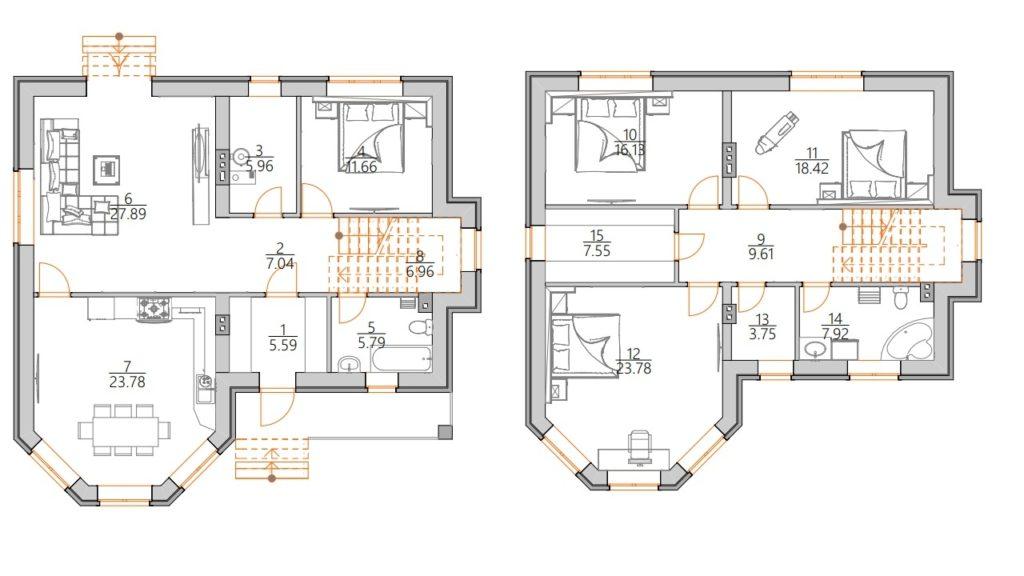 Планировка двухэтажного дома с эркером