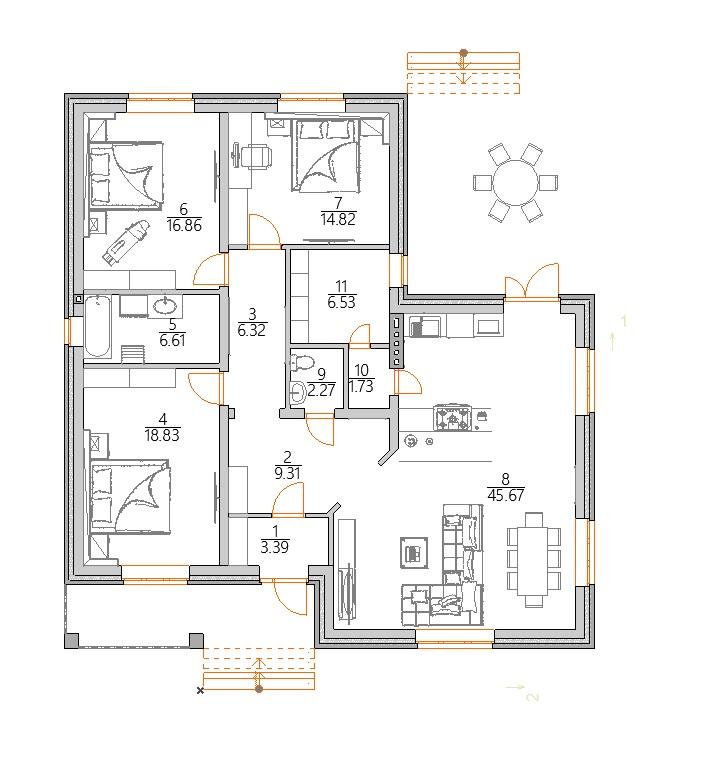 Планировка одноэтажного  дома в баварской кладке до 150 кв м