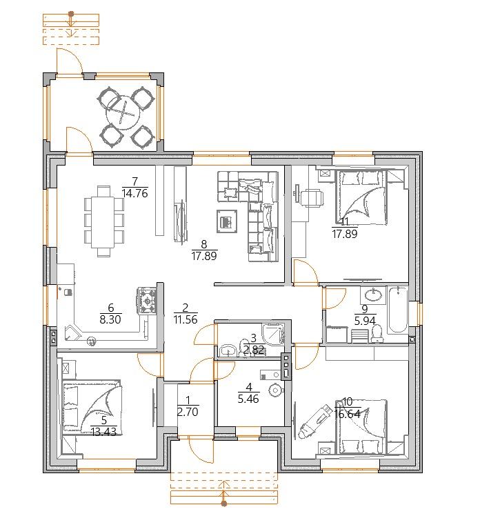 Планировка одноэтажного дома с террасой