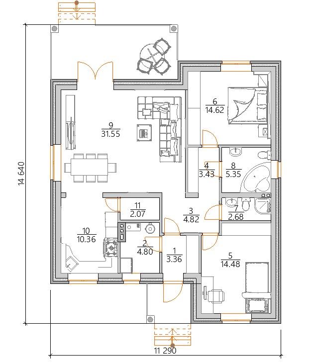 Планировка  одноэтажного дома с двумя спальнями