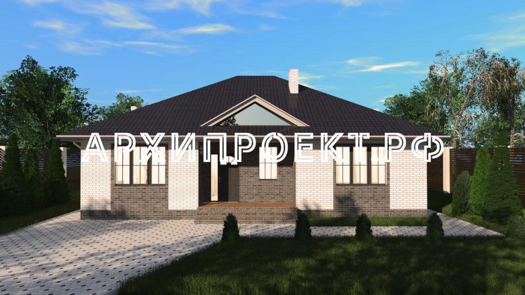 Проект кирпичного дома с террасой