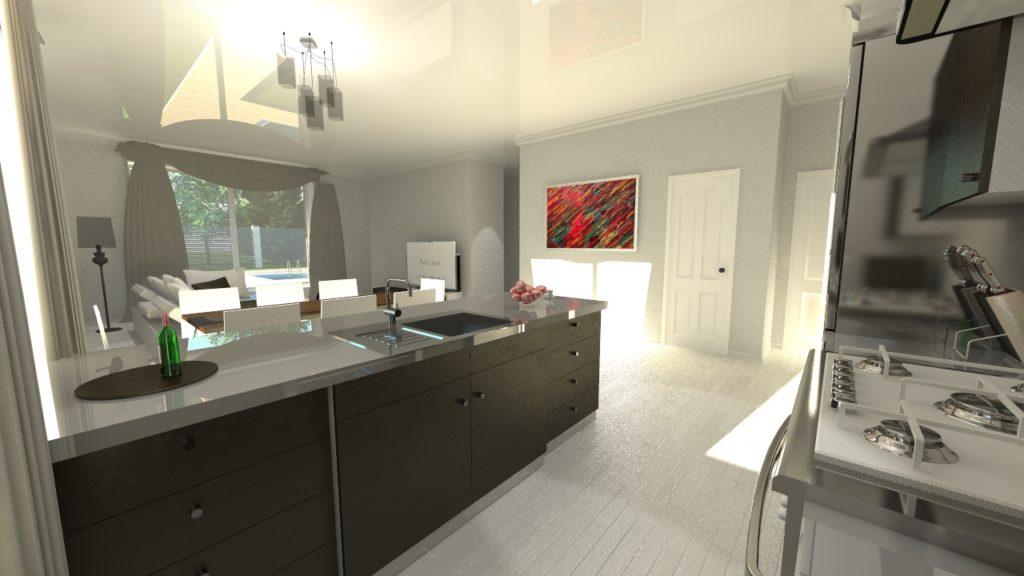 Кухня одноэтажного дома с большими окнами