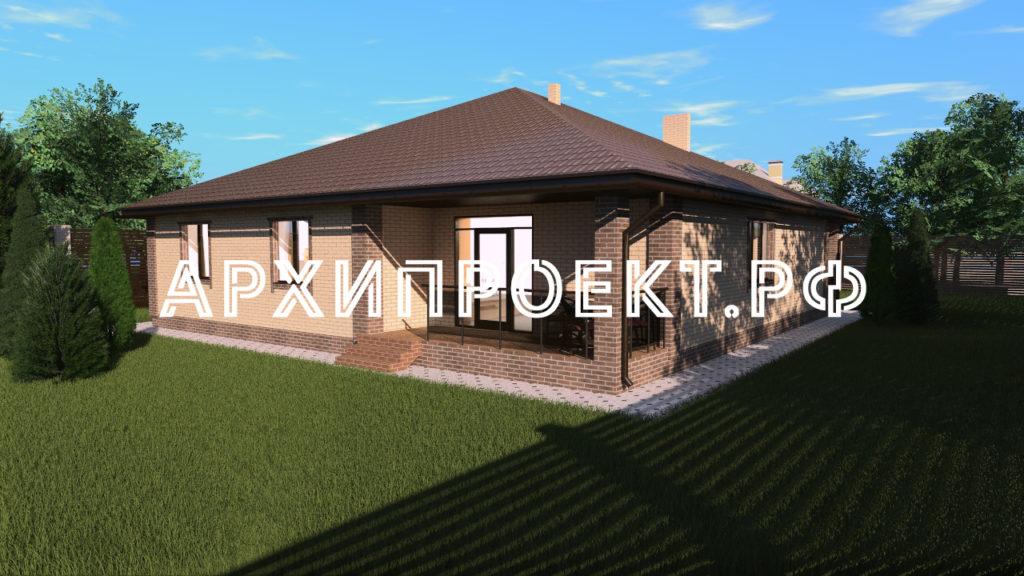 Одноэтажный дом с гаражом до 150