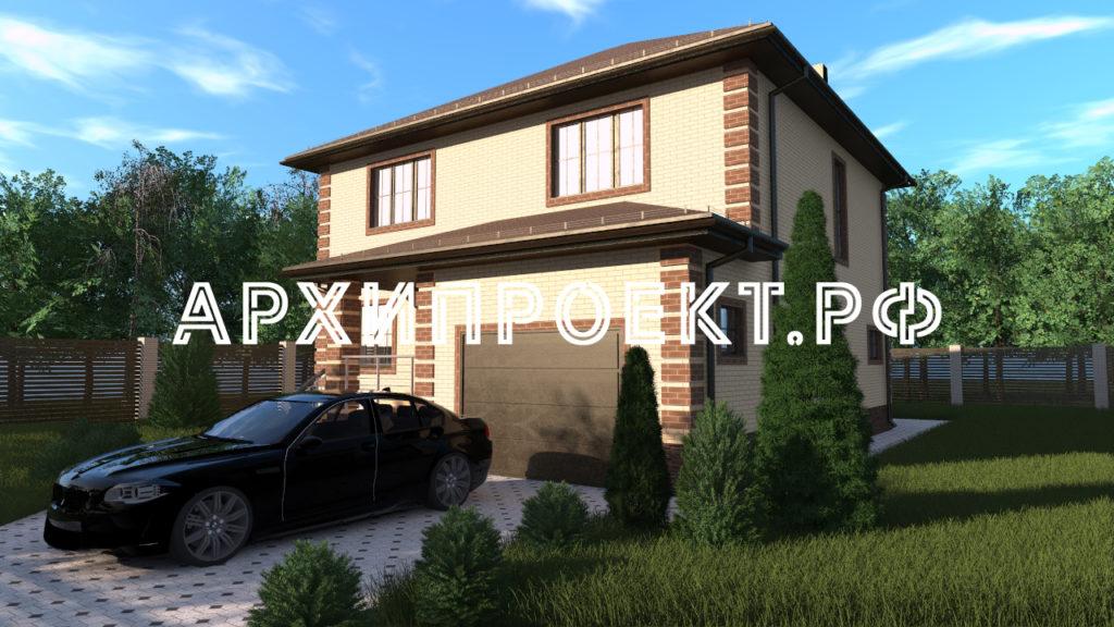 Узкий двухэтажный дом с гаражом фото