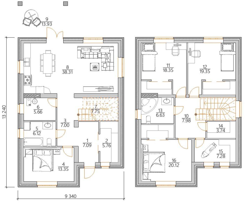 Планировка двухэтажного дома из газобетона