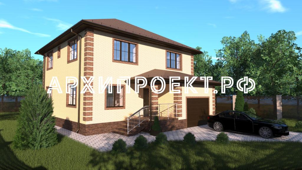 Двухэтажный дом с гаражом АРХИПРОЕКТ.РФ