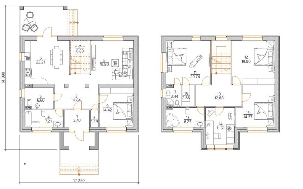 Планировка Проект красивого двухэтажного дома