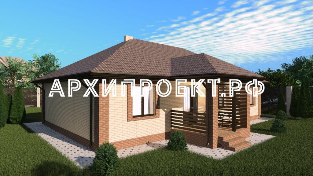 Красивый Проект одноэтажного дома с четырьмя спальнями