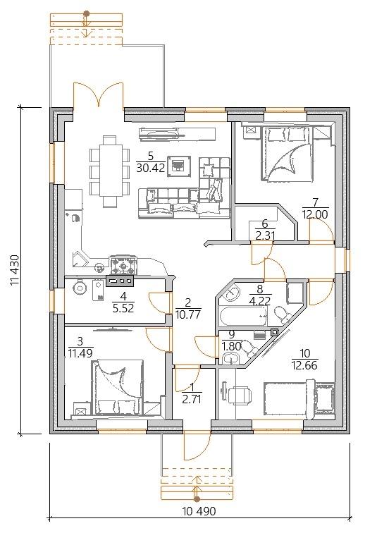 Планировка одноэтажного дома с тремя спальнями