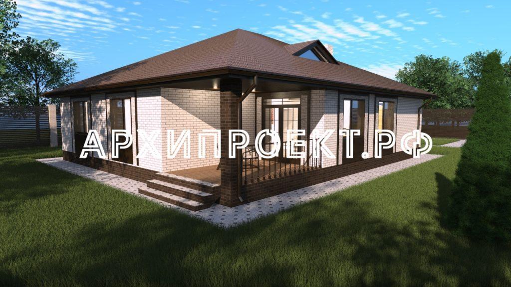 Проект одноэтажного дома с тремя спальнями и террасой