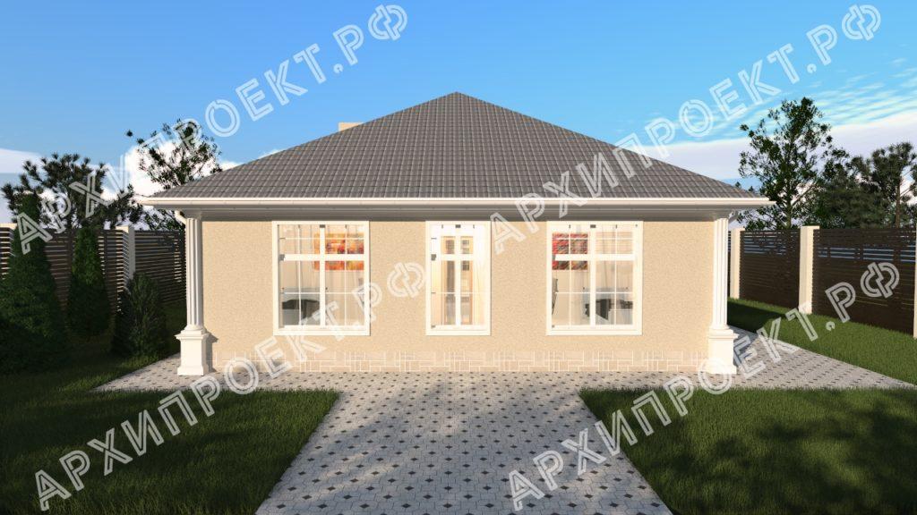 Одноэтажный дом в классическом стиле