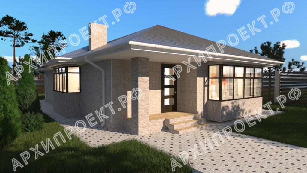 Одноэтажный дом с большими окнами