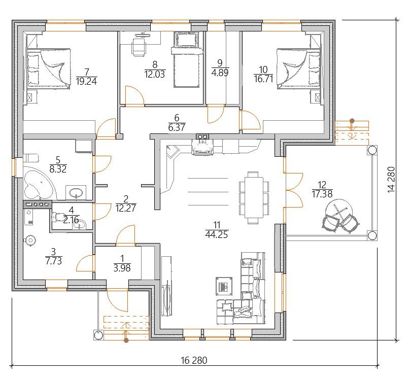 Планировка Проект одноэтажного дома 150 м