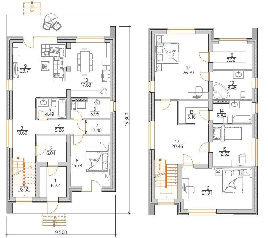Планировка двухэтажного дома в стиле модерн