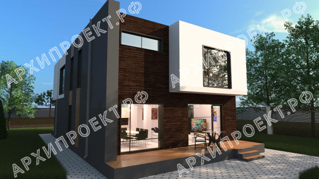Двухэтажный дом с плоской крышей фото