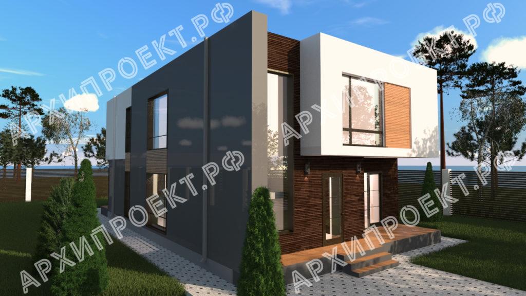двухэтажный дом в стиле модерн