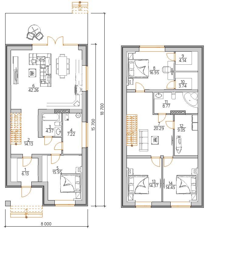 Планировка дома для узкого участка