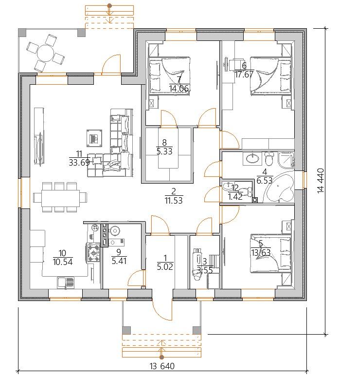 Планировка одноэтажного дома около 130 кв м