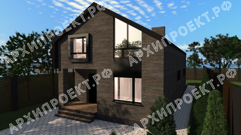Проект дома из темного кирпича фото
