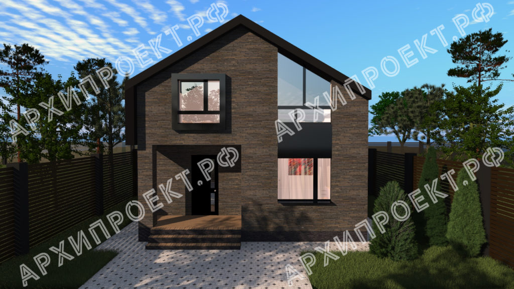 Проект дома из темного кирпича