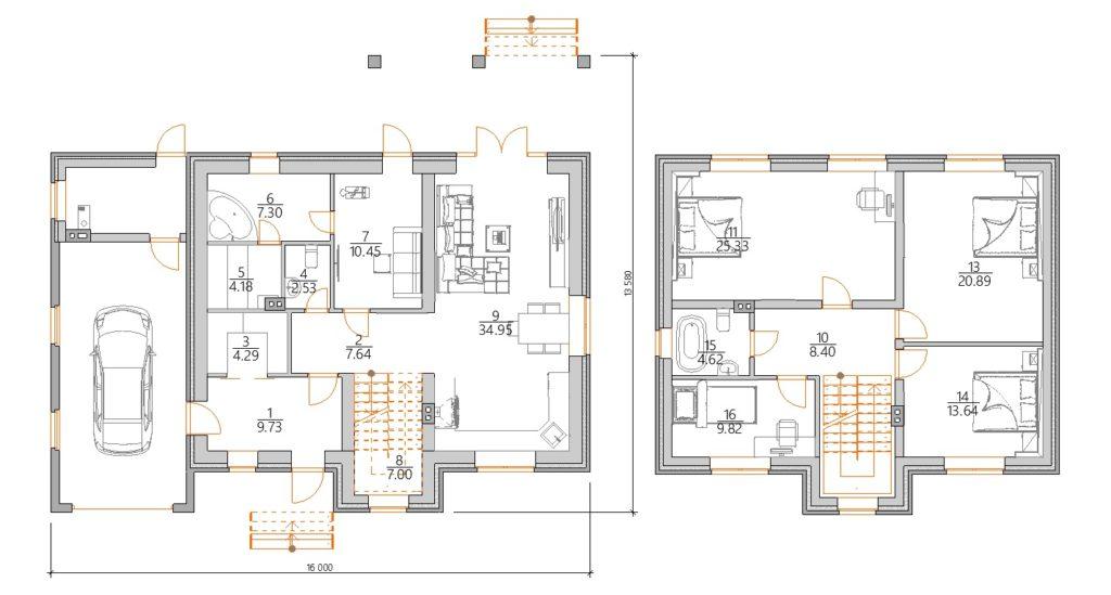 Планировка двухэтажного дома с сауной