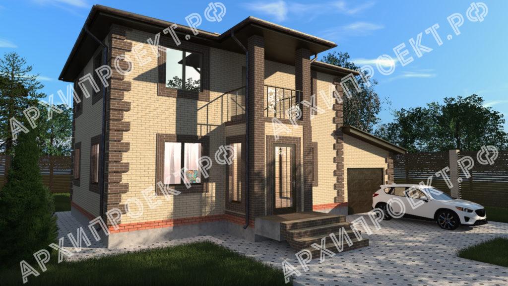 Кирпичный Проект небольшого двухэтажного дома фото