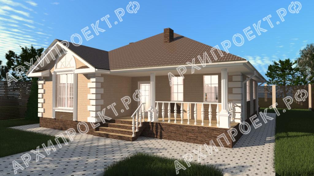 Проект одноэтажного дома с двумя спальнями АРХИПРОЕКТ.РФ