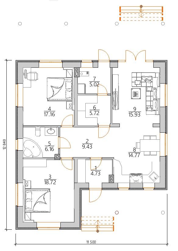 Планировка Проект одноэтажного дома с двумя спальнями