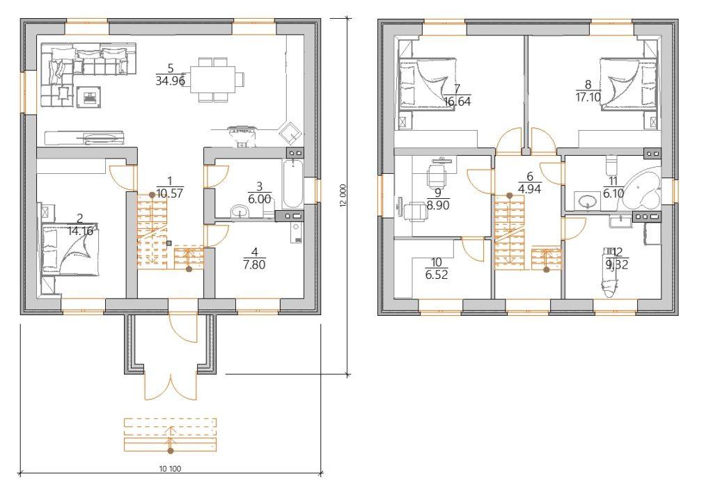 Планировка Практичный двухэтажный дом