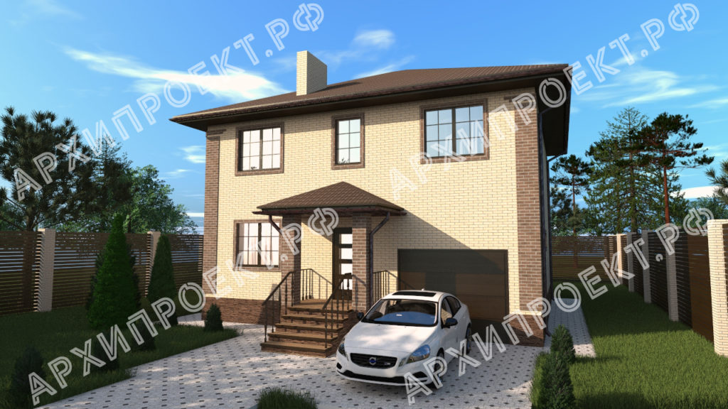 Двухэтажный дом с гаражом на первом этаже