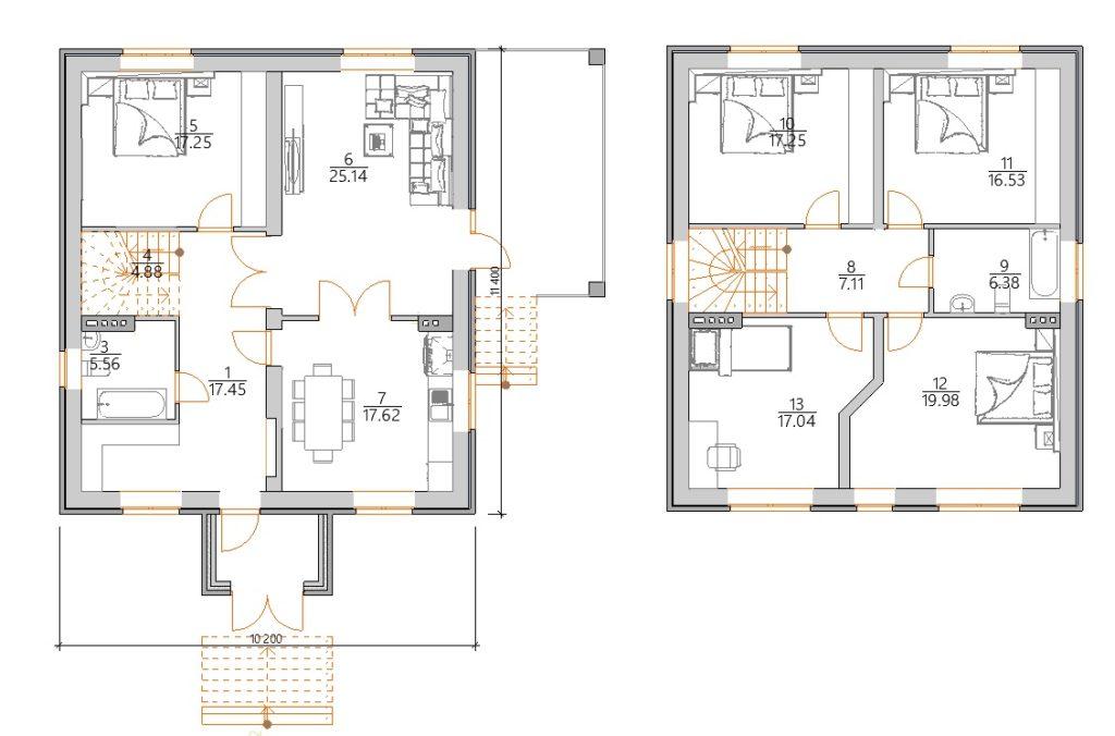 Красивый двухэтажный дом планировка