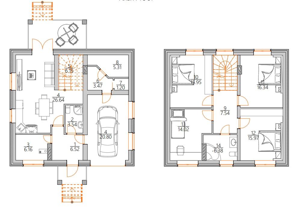 Планировка Двухэтажный дом с гаражом на первом этаже