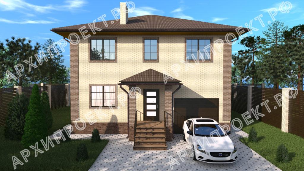Двухэтажный дом с гаражом на первом этаже фото