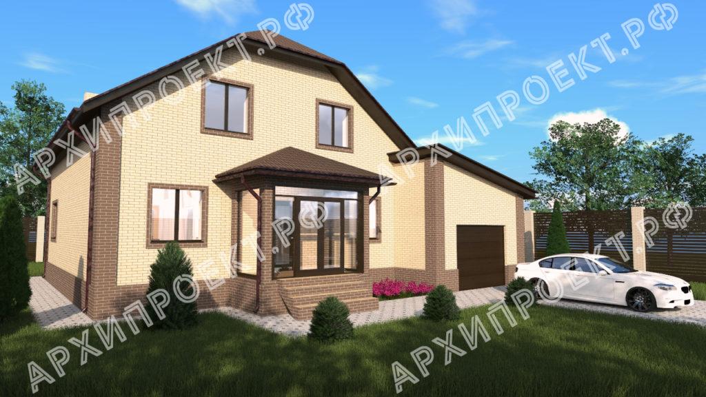 Двухэтажный дом с гаражом и баней  купить проект