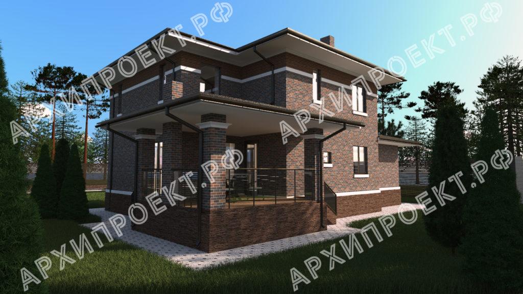 Проект дома в стиле Райта с террасой