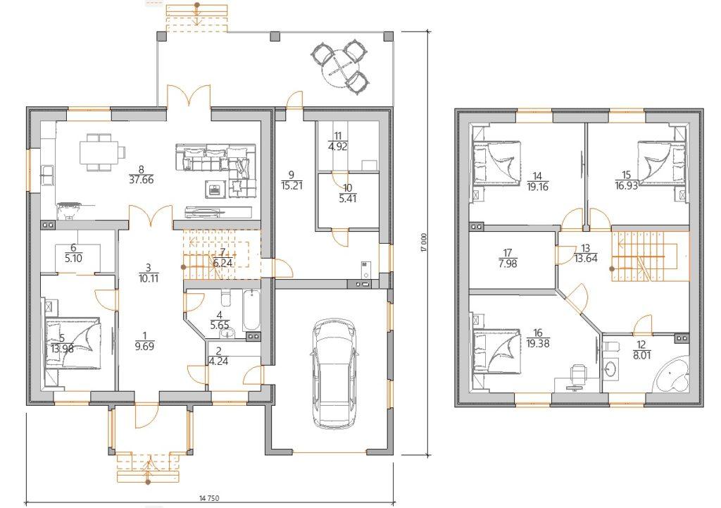 Двухэтажный дом с гаражом и баней  планировка