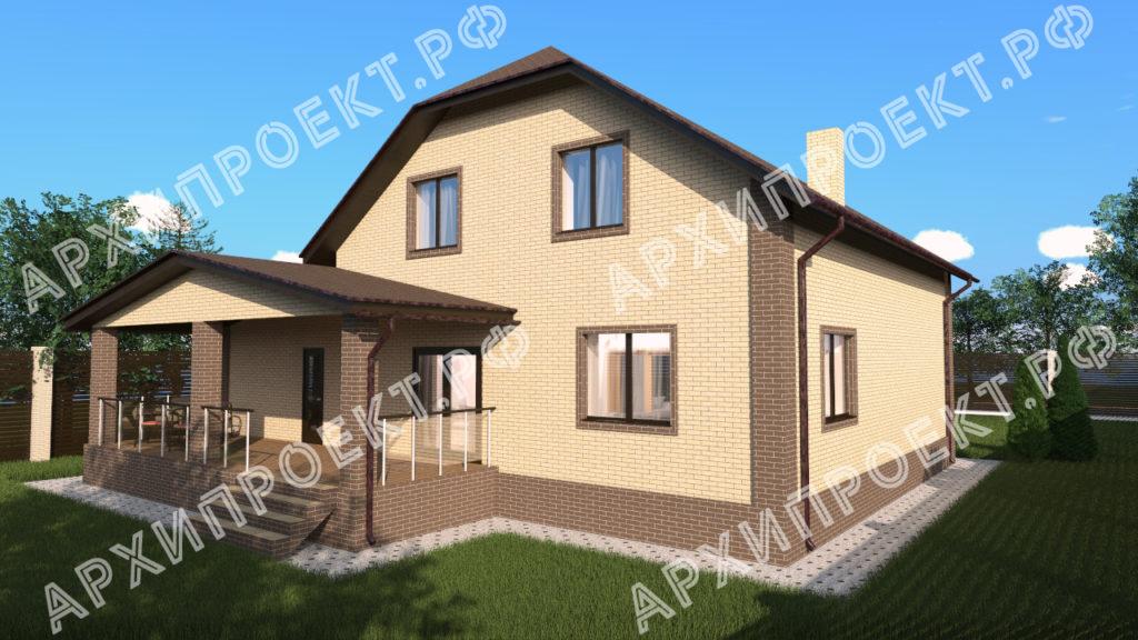 Двухэтажный дом с гаражом и баней  из кирпича фото