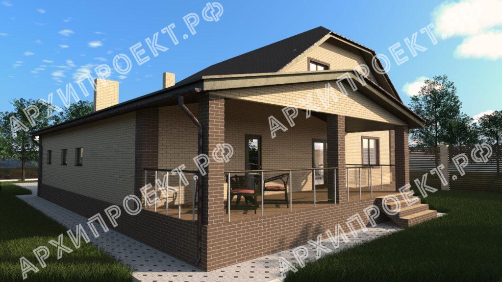 Двухэтажный дом с гаражом и баней  и террасой
