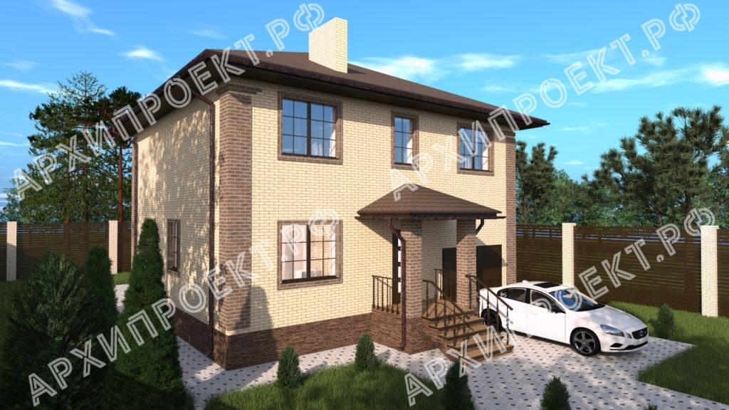 Двухэтажный дом с гаражом на первом этаже проект