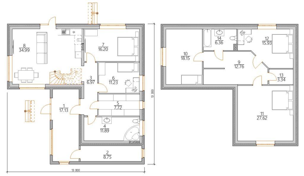 Планировка углового дома с мансардой