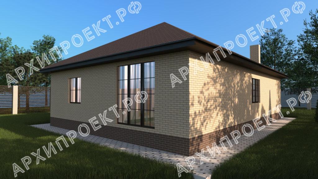 Проект с тремя спальнями из кирпича
