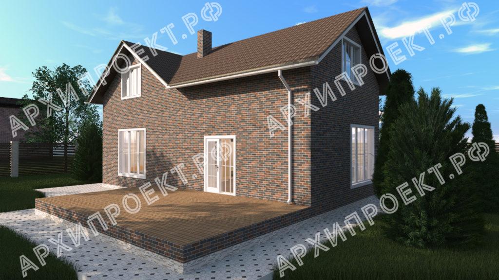Угловой дом с мансардой с террасой