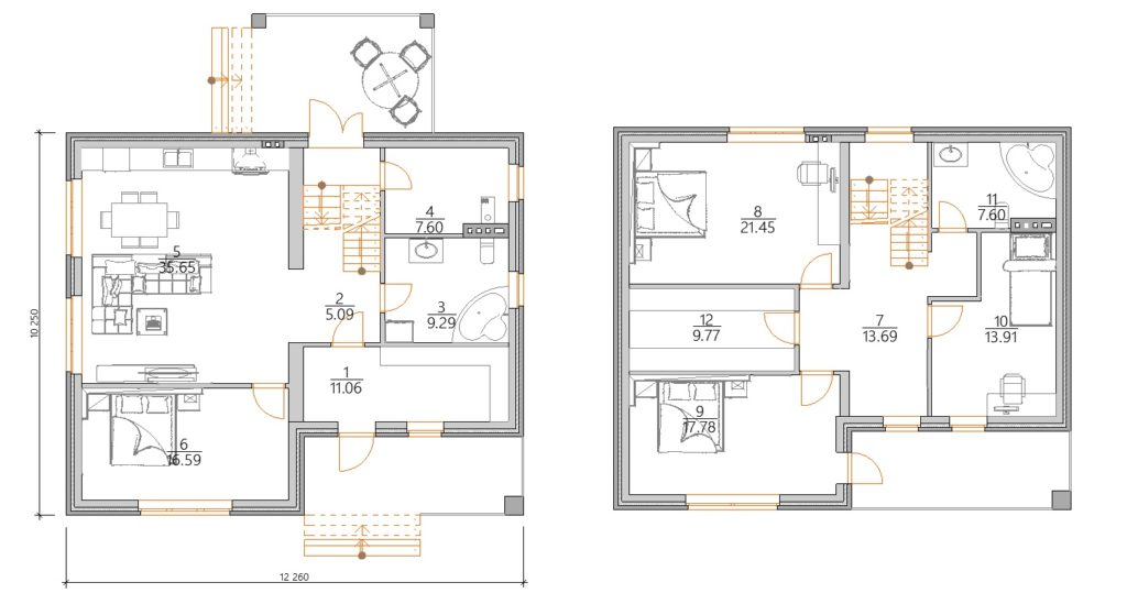 Планировка дома с мансардой 10 на 12