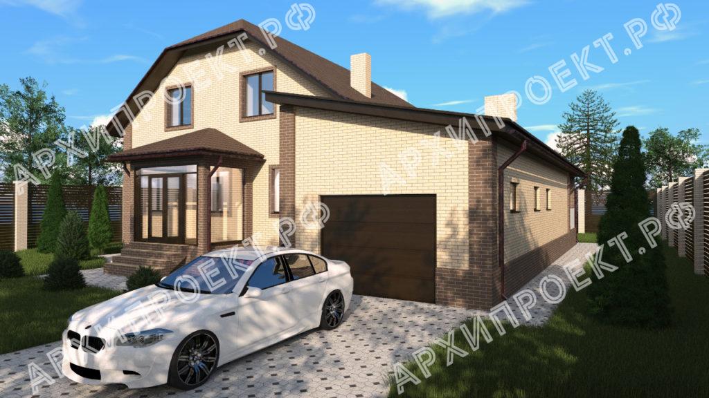 Двухэтажный дом с гаражом и баней  фото