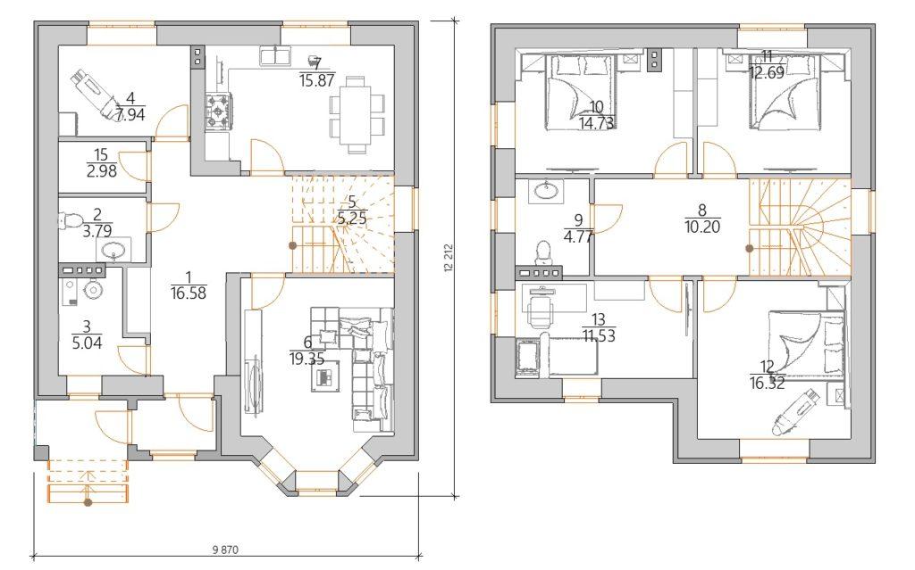 Планировка проекта дома с эркером
